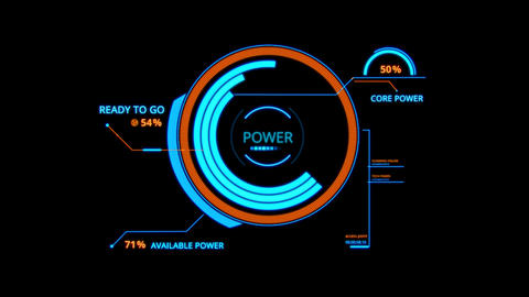 Blue HUD Power Control Interface Graphic Element Animation