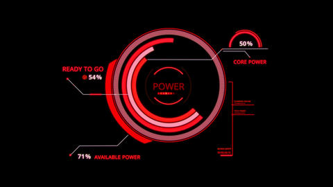 Red HUD Power Control Interface Graphic Element Animation