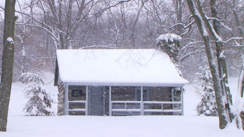 Log Cabin in Snow Stock Video Footage