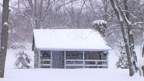 Log Cabin in Snow Footage
