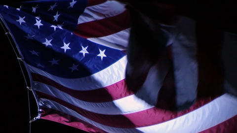 American Flag at Night Stock Video Footage