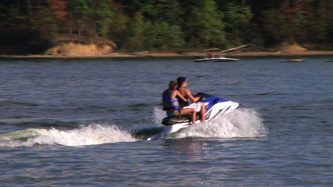 Young Couple on Jet Ski Stock Video Footage