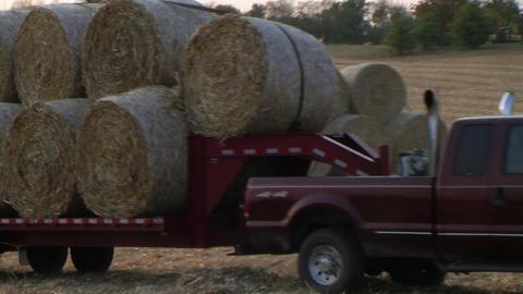 Trucks Hauling Hay Bales Footage