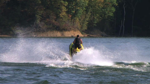 Jet Ski Jumps On Lake Stock Video Footage