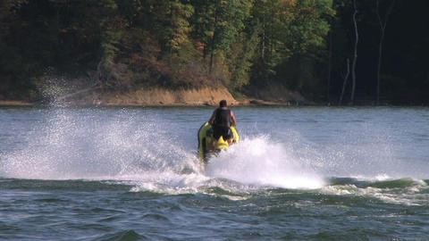 Jet Ski Jumps On Lake Footage