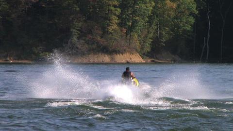 Jet Ski Jumps On Lake Stock Video Footage