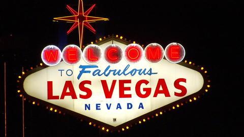 Las Vegas Sign Zooms n Racks Stock Video Footage