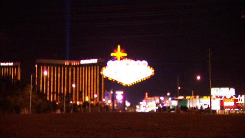 Las Vegas Sign Zooms n Racks Stock Video Footage