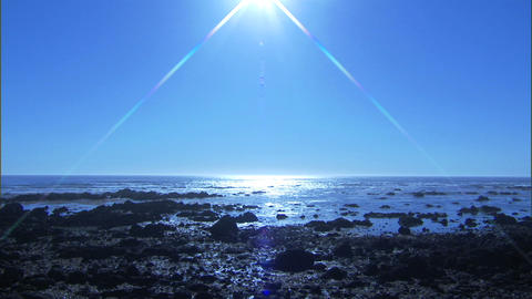 Ocean Double Lens Flare 1 Stock Video Footage