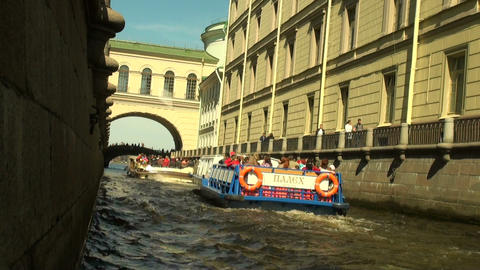 The ship floats on the river Stock Video Footage