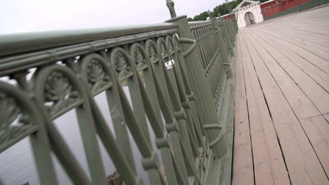 The movement on the wooden bridge Stock Video Footage