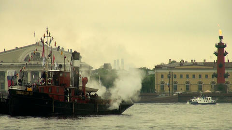 An old steamer Stock Video Footage