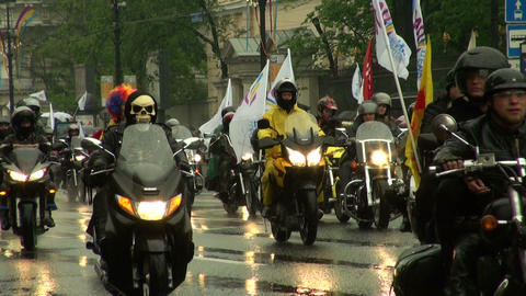 a group of bikers on motorcycles Footage