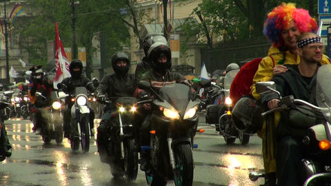 a group of bikers on motorcycles Stock Video Footage