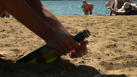 Champagne on the beach Stock Video Footage