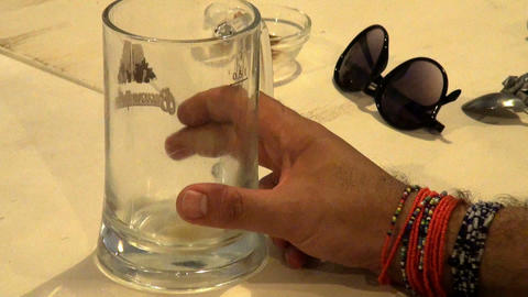 A glass in his hand Stock Video Footage