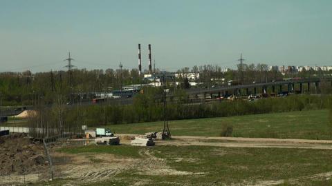 Machine on viaduct Stock Video Footage