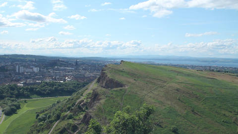 View of Arthur's Seat and the city of Edinburgh Stock Video Footage