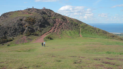 View of Arthur's Seat and the sea Footage