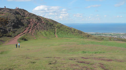 View of Arthur's Seat and the sea Stock Video Footage
