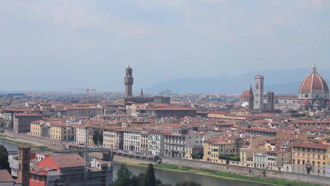 """Panoramic of Florence, the """"duomo"""", the Arno r Stock Video Footage"""