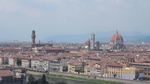 "Panoramic of Florence, the ""duomo"", the Arno r Stock Video Footage"