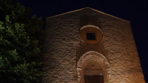 Church by night in Italy Stock Video Footage