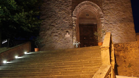 Church by night in Italy Footage
