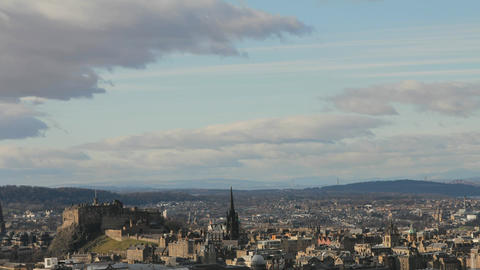 Timelapse of the city of Edinburgh, with view of t Stock Video Footage