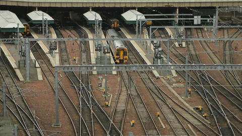 Timelapse of the train station in Edinburgh Stock Video Footage