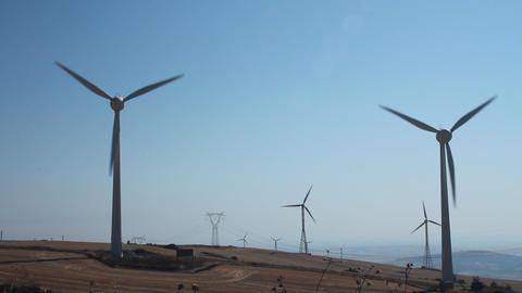 Field of wind turbines Stock Video Footage