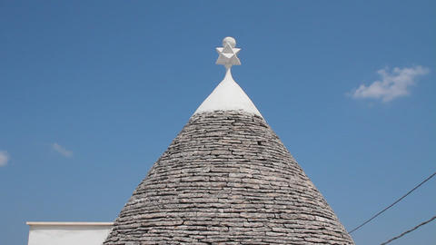 Roof of a trullo, a traditional apulian dry stone  Footage