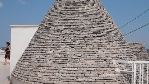 Roof of a trullo, a traditional apulian dry stone Stock Video Footage