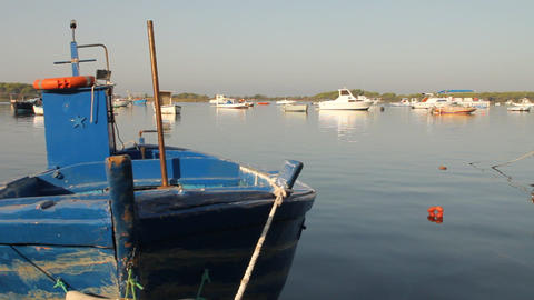 Pan of docked fishing boats Stock Video Footage
