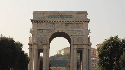 Triumphal arch in Genoa, Italy Footage