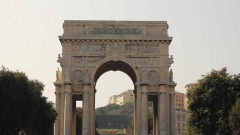 Triumphal arch in Genoa, Italy Live Action
