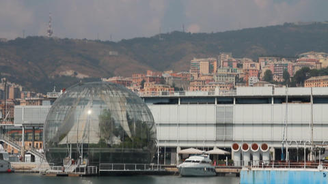 The sphere of Renzo Piano at the port of Genoa Stock Video Footage