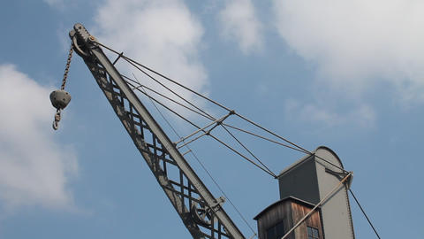 "Old Crane And ""Bigo"" Structure At The Port Of  stock footage"