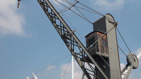 """Old crane and """"Bigo"""" structure at the port of Stock Video Footage"""