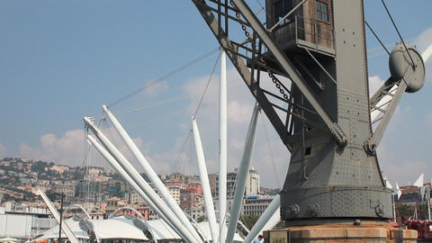 "Old crane and ""Bigo"" structure at the port of Stock Video Footage"
