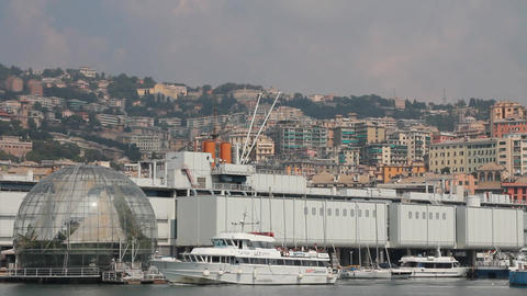 Ferry passing through the port of Genoa Stock Video Footage