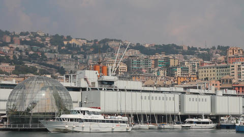 Ferry passing through the port of Genoa Footage
