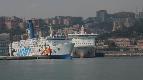 Pan of the port of Genoa, with ferries docked Stock Video Footage