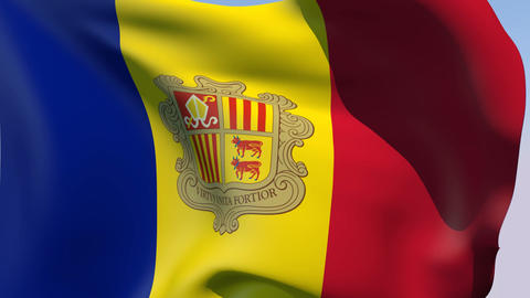 Flag of Andorra Stock Video Footage