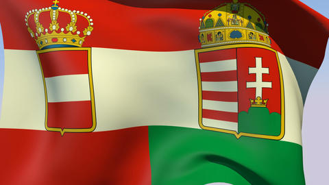 Flag of Austria-Hungary 1869-1918 Stock Video Footage