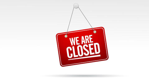 We are closed sign Animation