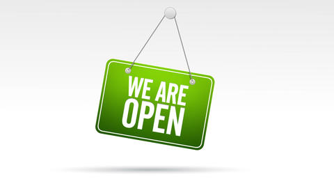 We Are Open Store Sign Stock Video Footage