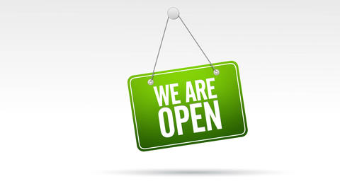 We Are Open Store Sign Animation