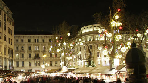 Christmas Market in Budapest 8 Timelapse Stock Video Footage