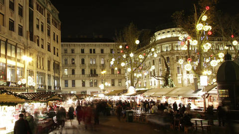 Christmas Market In Budapest 8 Timelapse stock footage